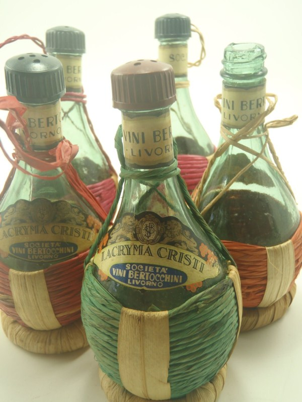 Mini Chianti Straw Bottles Lot Of 5 Miniature Veesvintage