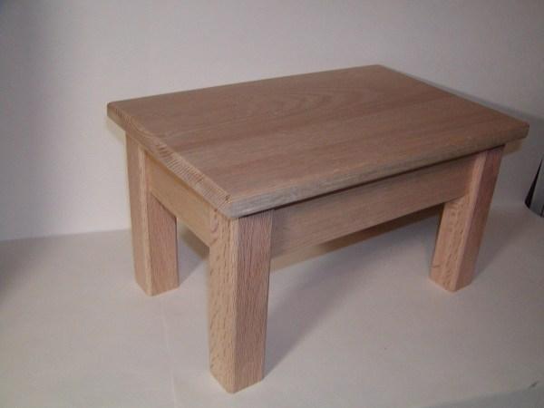 Unfinished Solid Oak Wood Step Stool Bedside Gouldswoodshop