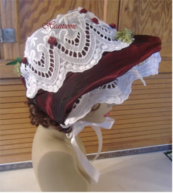 Victorian Dickens Bonnet Hat Regency Caroler Christmas Wine