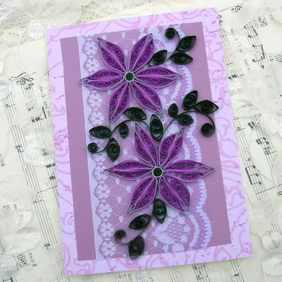 Quilling Card Paper Quilled Purple DAISIES Entwined On Lace