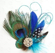 blue peacock feather fascinator