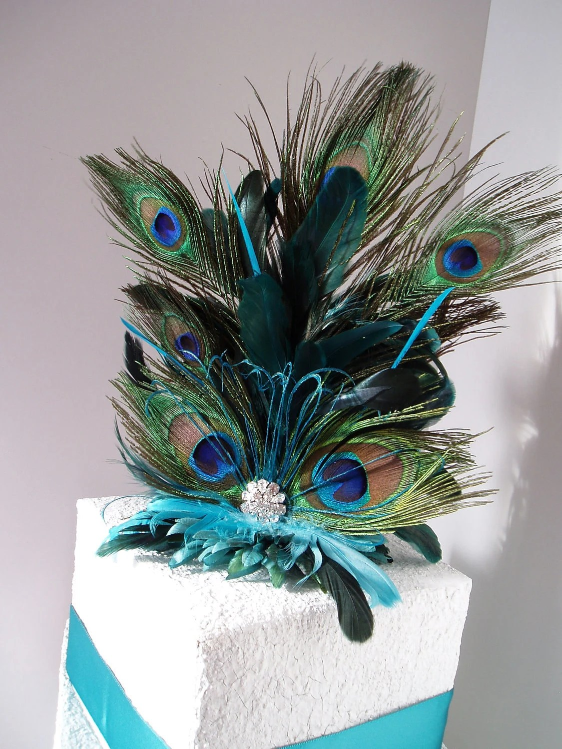 Wedding Cake Topper PEACOCK FEATHER ACCESSORIES Bridal