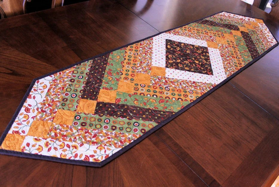 Autumn Fall Table Runner Quilt Green Gold And Brown