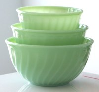 RESERVED 3 Fire King Jadite Swirl Mixing Bowls