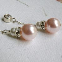 Bridesmaid Pink Pearl Earrings Dangle Cubic Zirconia Posts