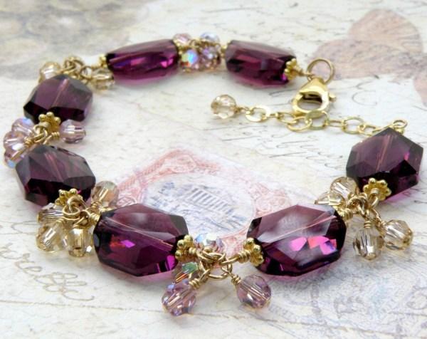 Modern Amethyst Crystal Bracelet Gold Filled Purple