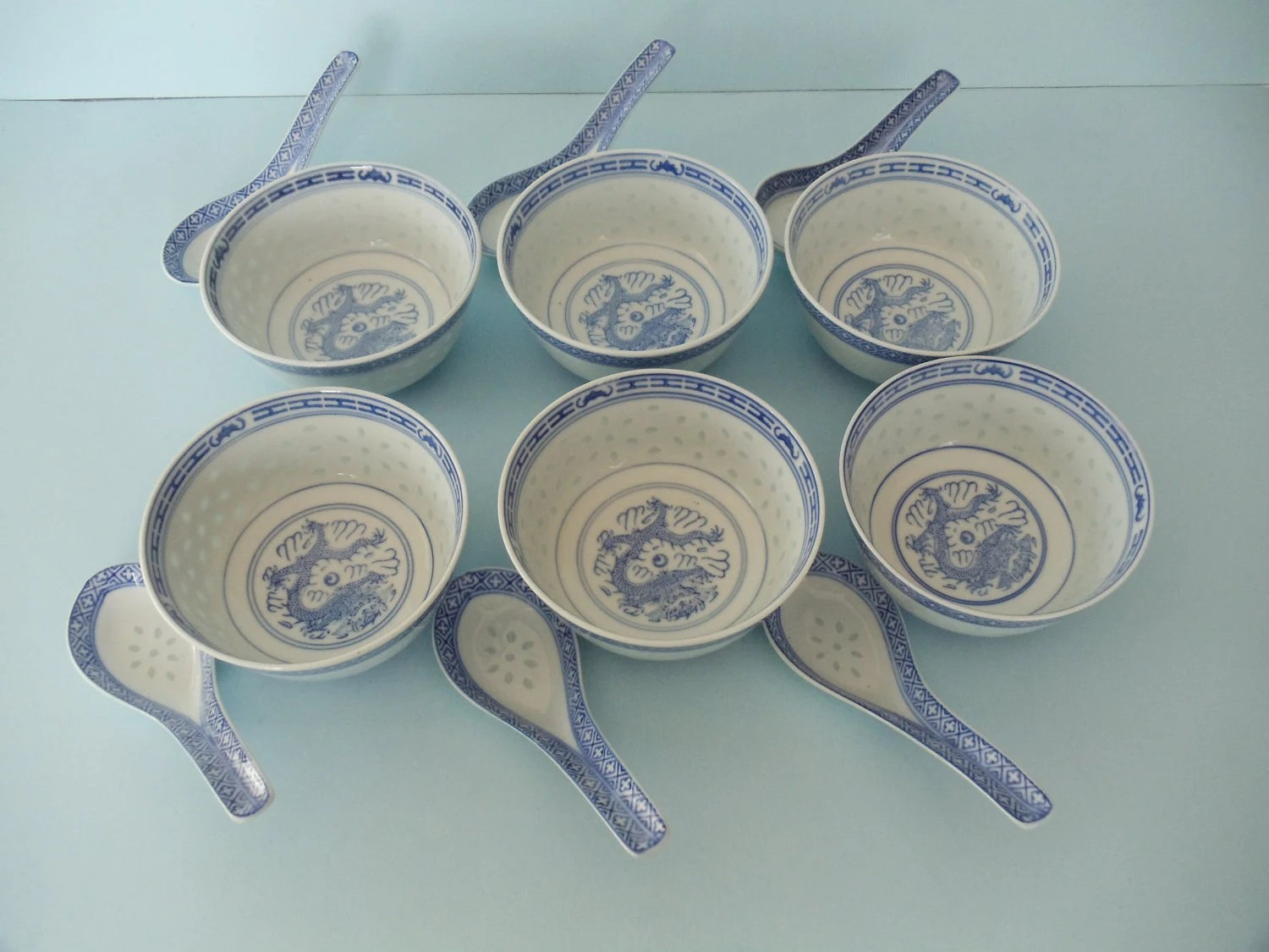Asian Soup Bowls Set of 6 with 6 matching china spoons