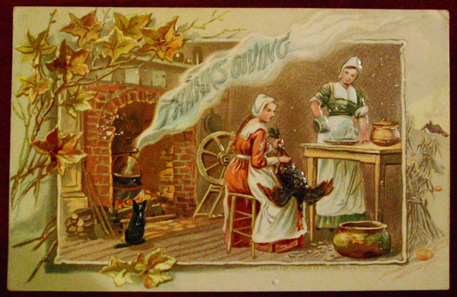 Vintage 1910 Thanksgiving Postcard Cat Fireplace Cleaning