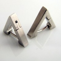 Men's Earrings Silver Hoop Triangle Earrings for Men