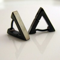 Men's Earrings Black Hoop Triangle Earrings for Men
