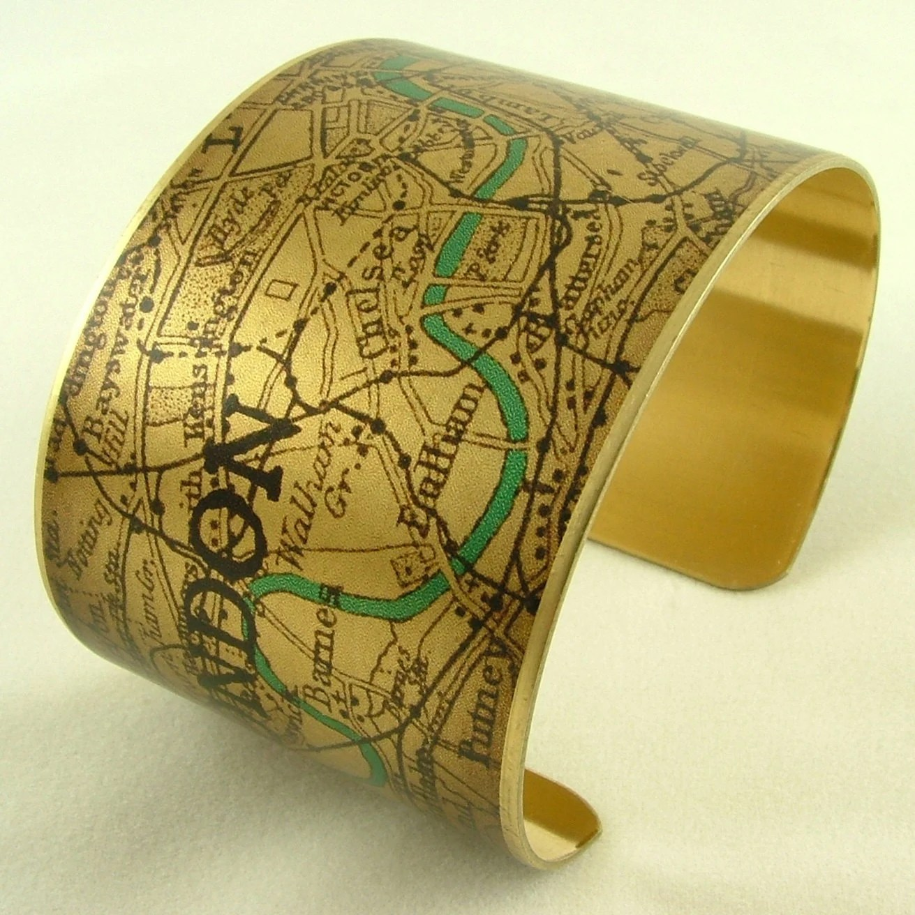 Vintage London Map with the River Thames Brass Cuff Bracelet - Map Jewelry - London Olympics 2012