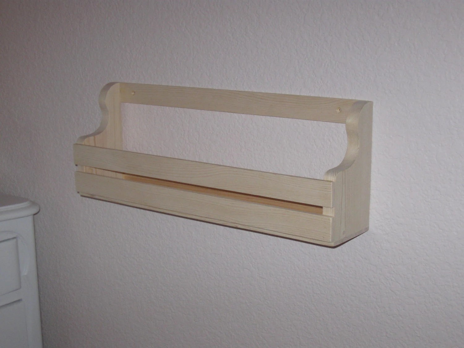 Book rack holder shelf low profile wall mount 20 inches long pine/pg for kids books