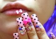 nails pink polka dot bows gems