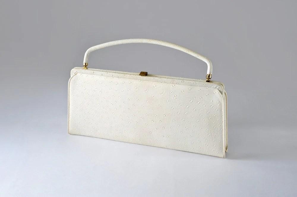 50's Handbag Bone White Faux Ostrich - missfarfalla