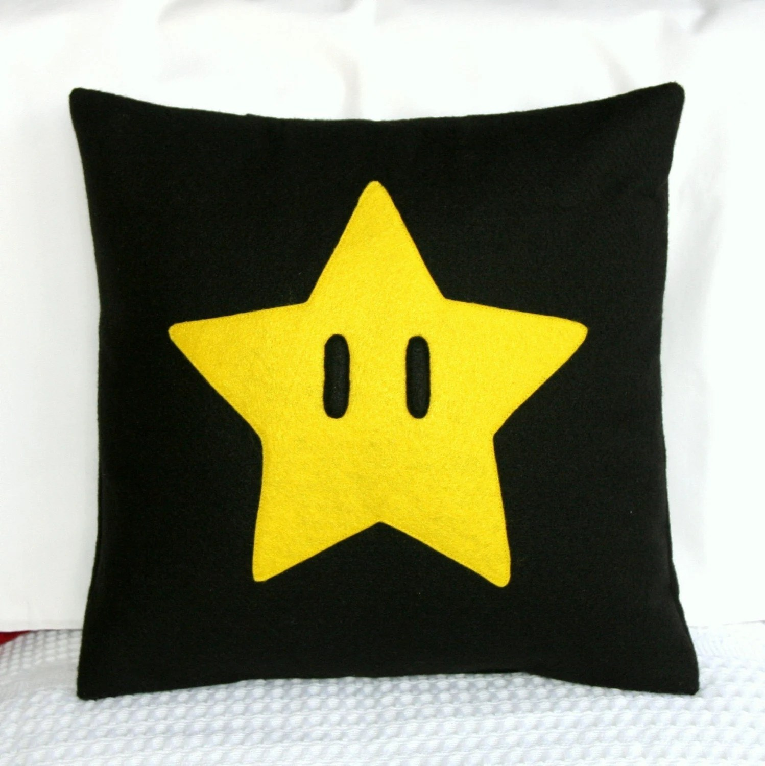 Super Mario Brothers Star Pillow Cover 14x14 inches by Modernality