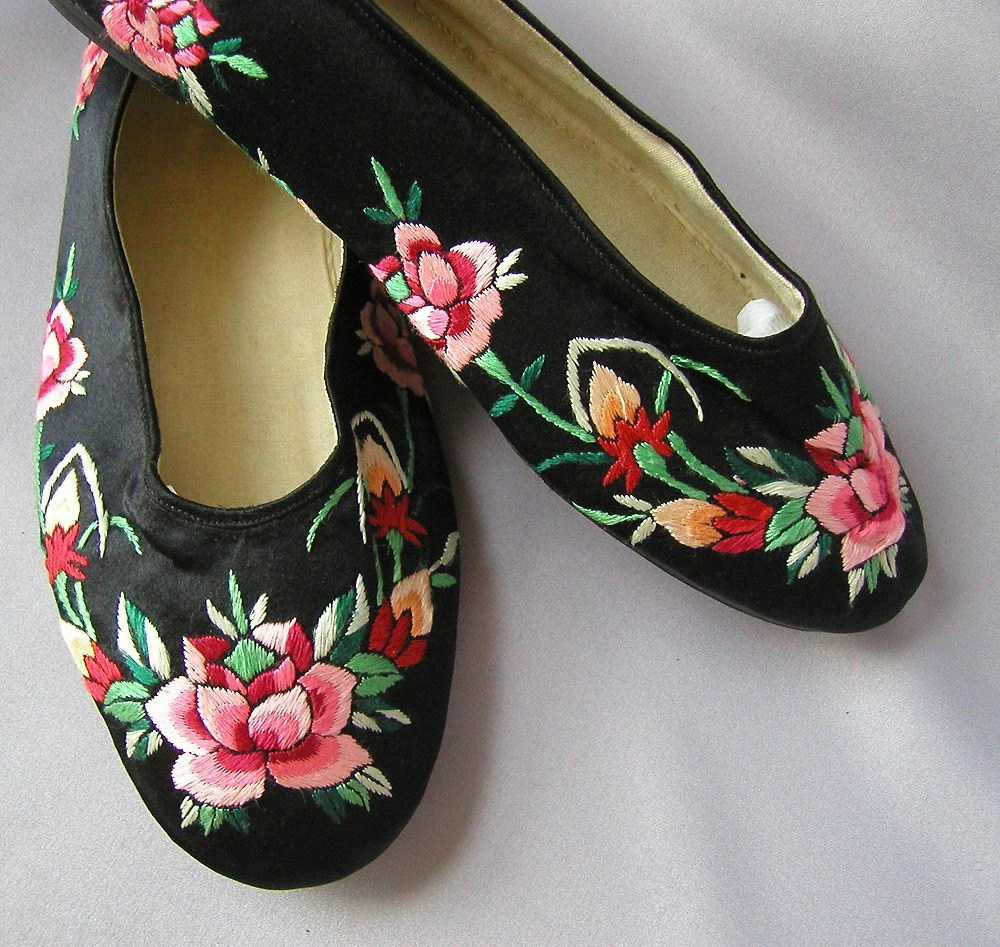 40s Vintage Shoes Silk Chinese Slippers 1940s By Archivia