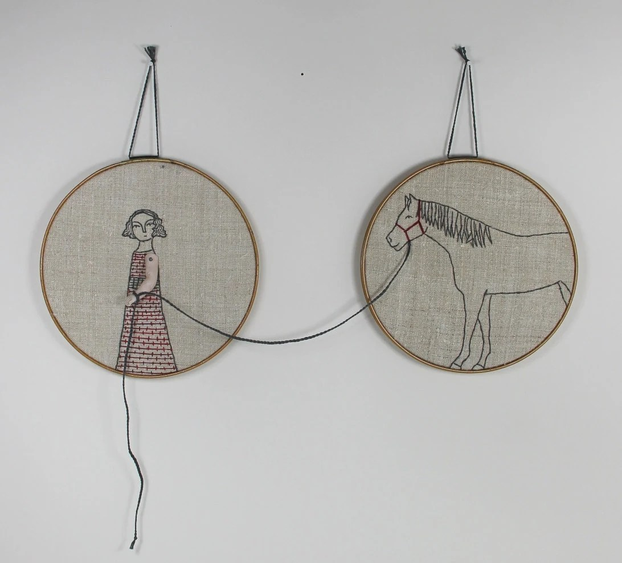 hand embroidery hoop art-  girl and her horse textile art fiber art