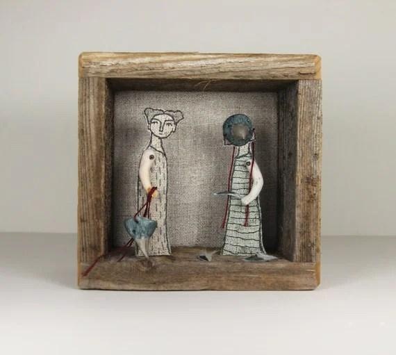 art diorama embroidery - little birds textile art fiber art