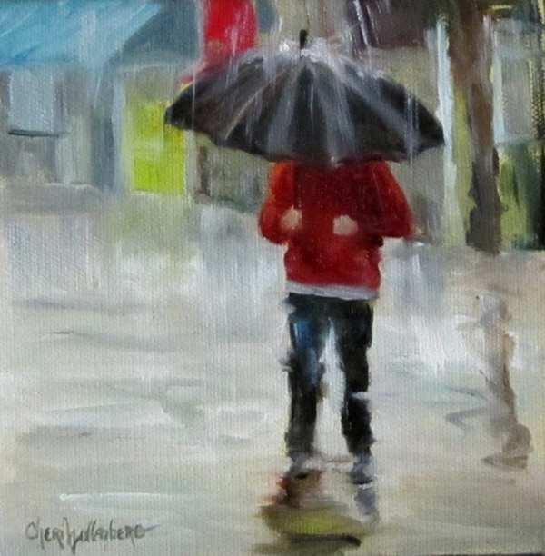 Walking In Rain Original Oil Painting Oilpaintingsbycheri