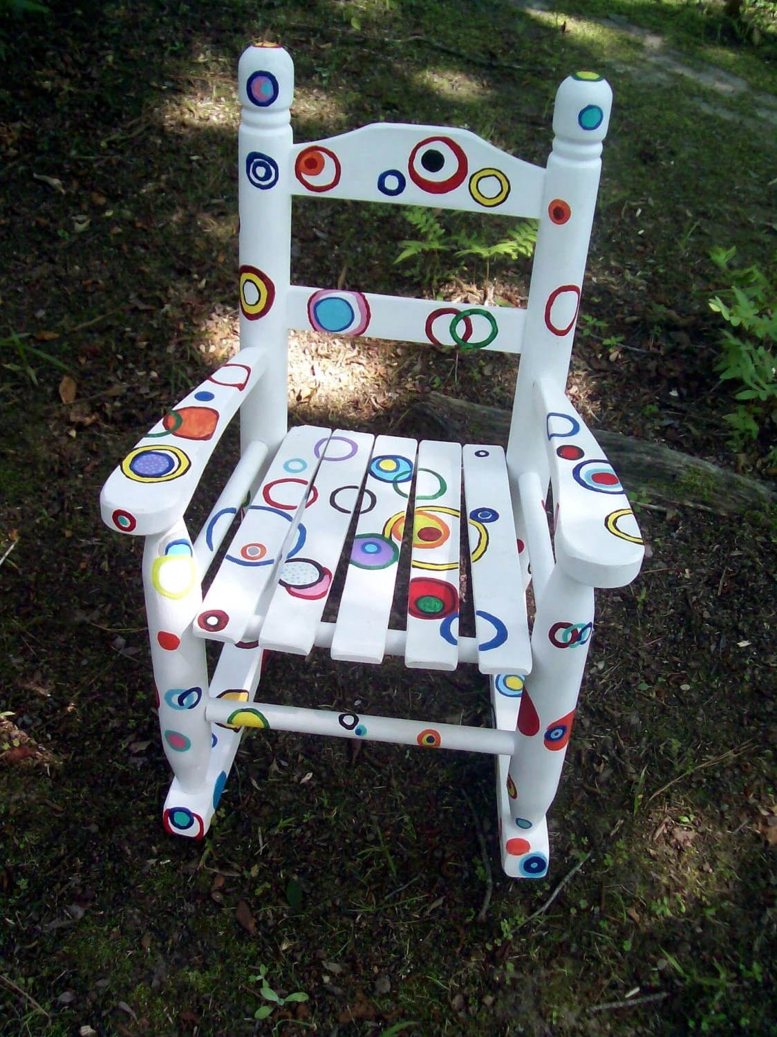 Childrens Rocking Chair Rocking Chair Hand Painted Rainbow Bubble Rocking Chair