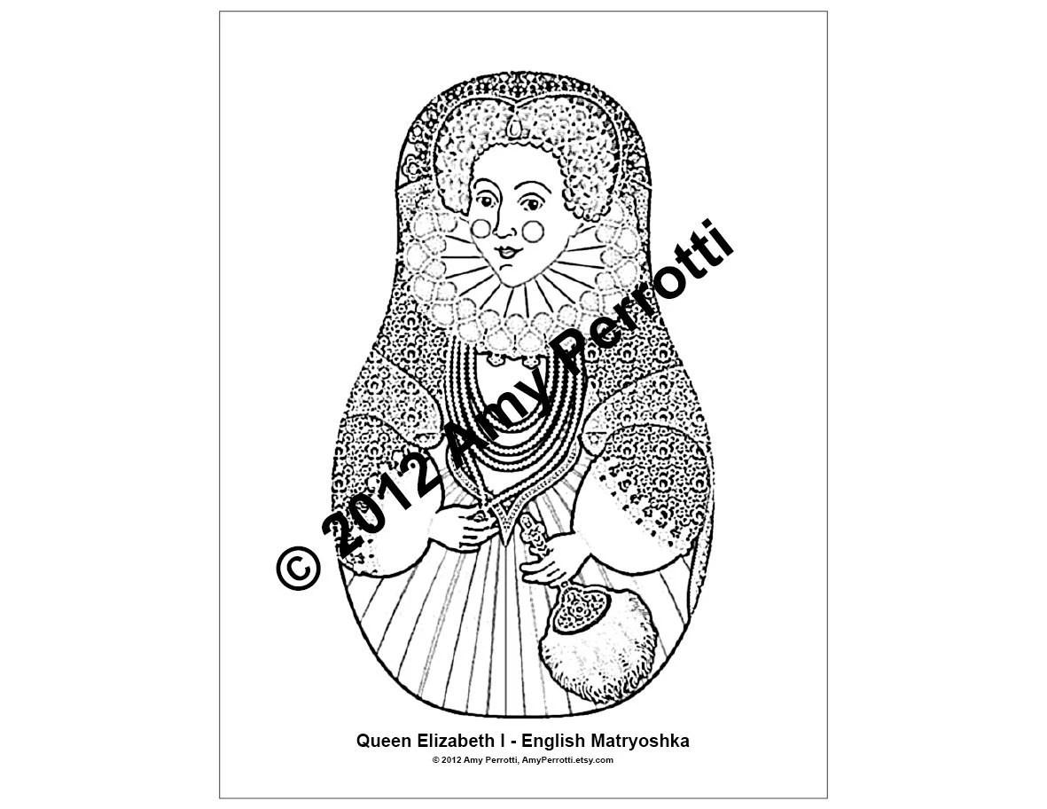Queen Elizabeth I English Matryoshka Coloring by AmyPerrotti