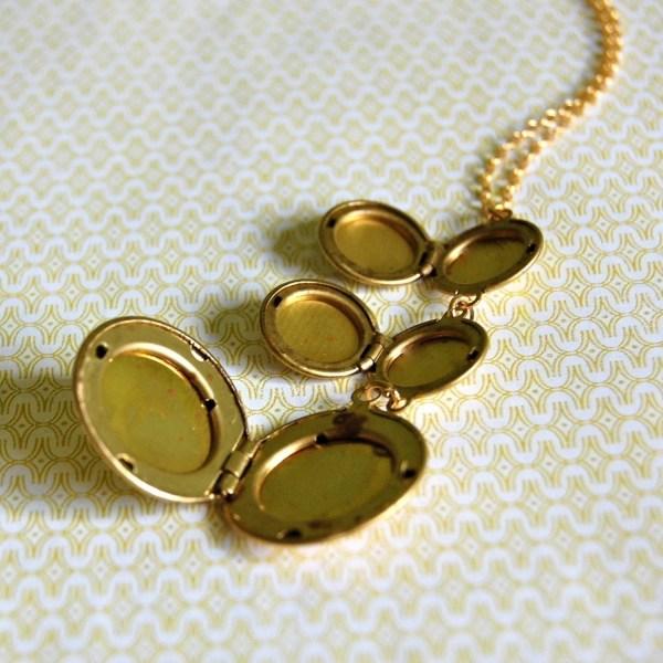 Lockets Necklace Vintage Trio Of Three Brass