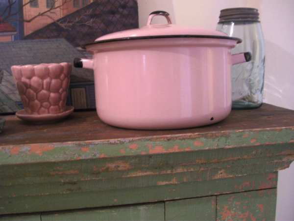 Vintage Pink Enamel Ware Covered Cooking Pot