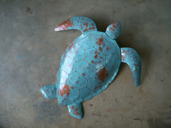 Sea Turtle Metal Wall Sculpture 20 X Tropical Beach Coastal