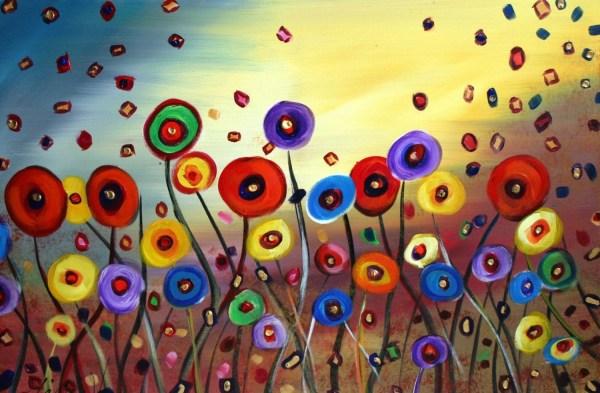 Items Similar Dancing Flowers 5x7 Fantasy Whimsical Art