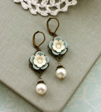 Dusty Blue Ivory Pearls Earrings Creamy Pansy Flower Ivory