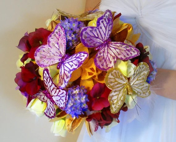 Items similar to 2 Butterfly bouquets purple wedding