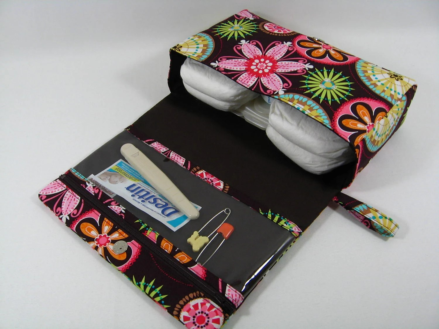 Diaper Clutch with clear zipper pouch --Carnival Bloom Brown