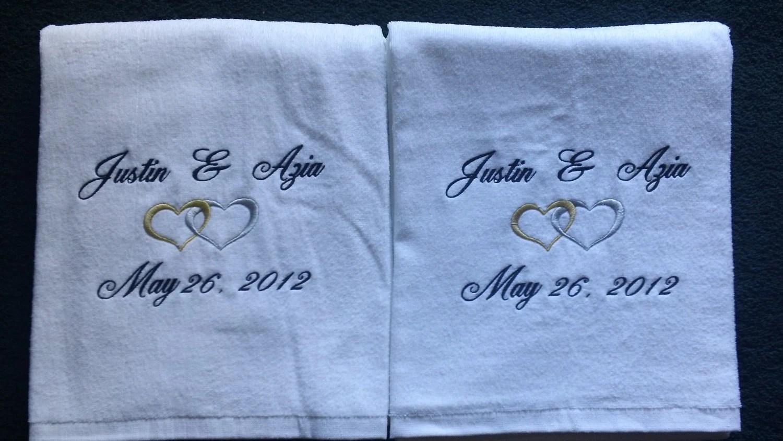 Items Similar To Personalized Wedding Beach Bath Towels