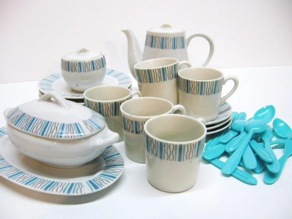 Retro 1960s Porcelain Toy Tea Set Turquoise And White Sold