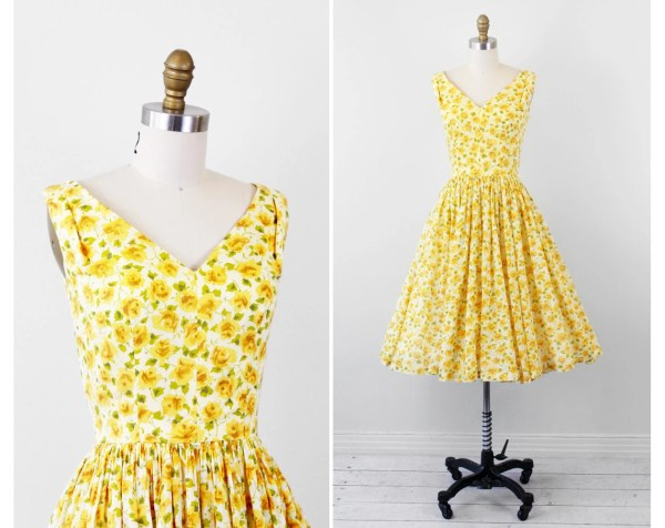 vintage 1950s 50s dress Sheer Yellow Floral Cotton Sundress