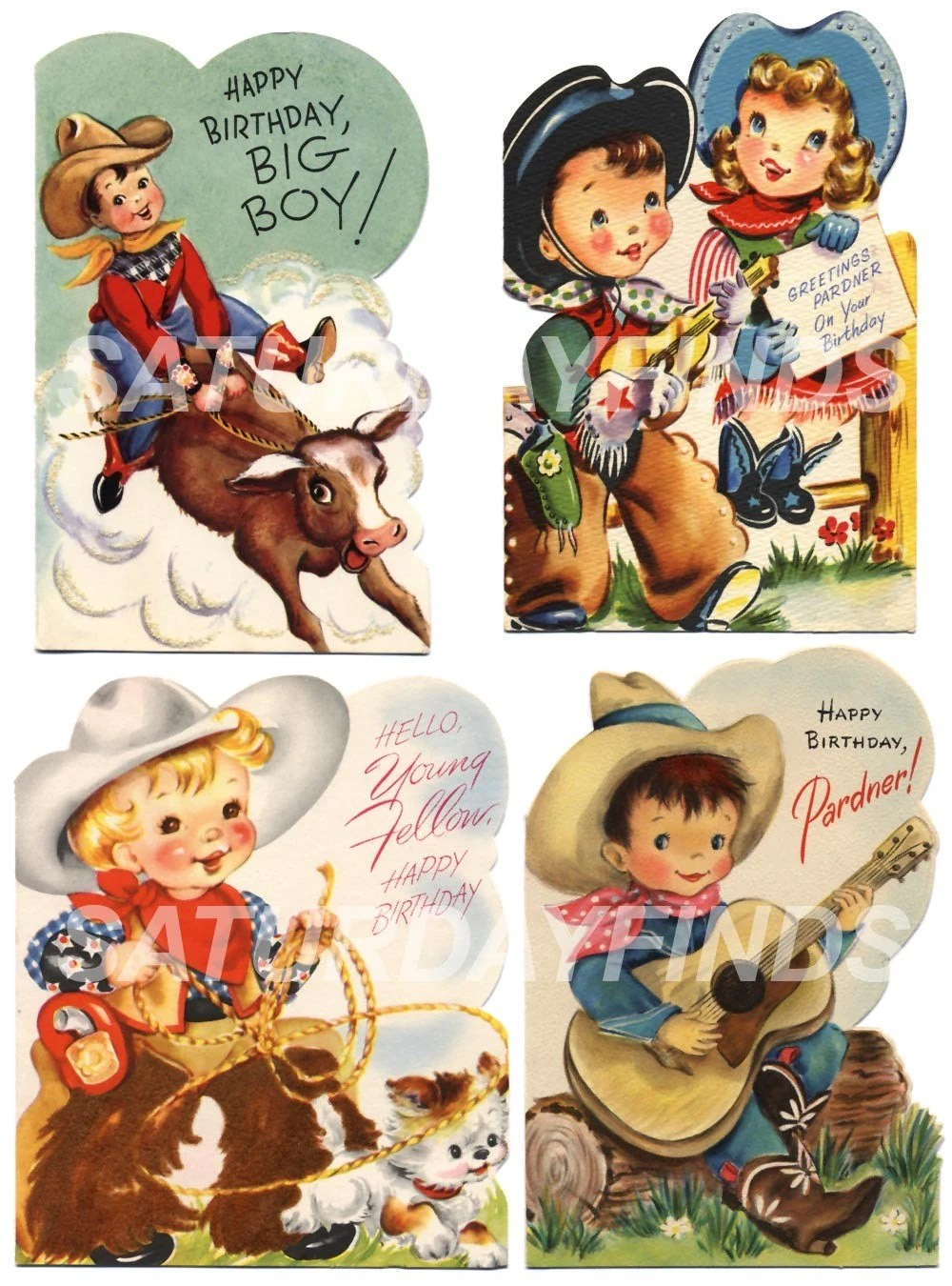 Birthday Cowboy No 1 Of 2 Vintage Greeting Cards Digital