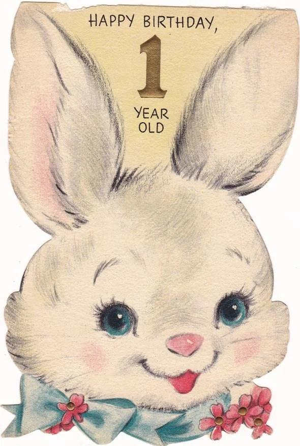 Vintage Birthday Card 1960s Babys 1st Birthday Bunny