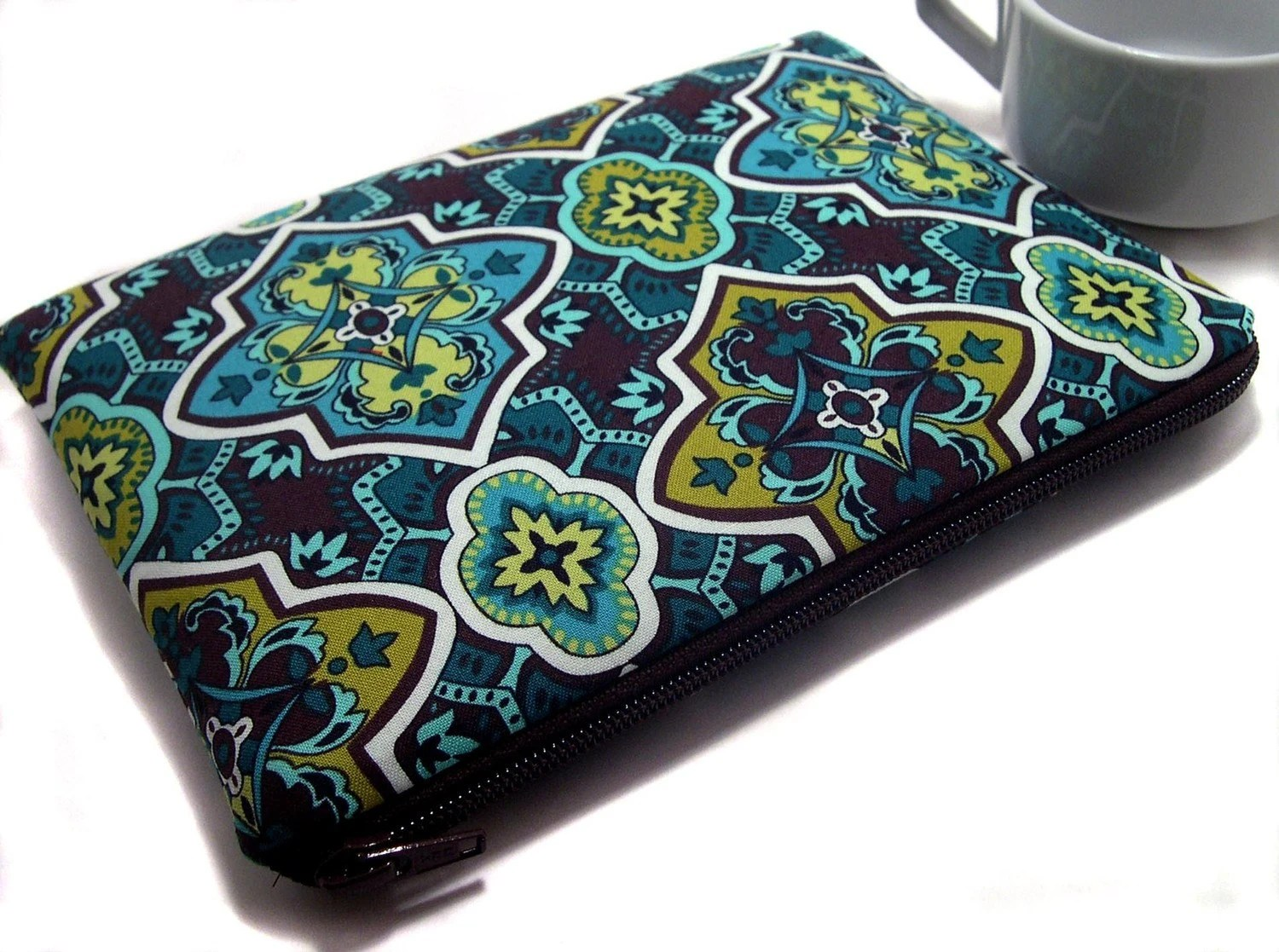 Fabric iPad Case Cover, Handmade in Teal Brown Fabric Pattern