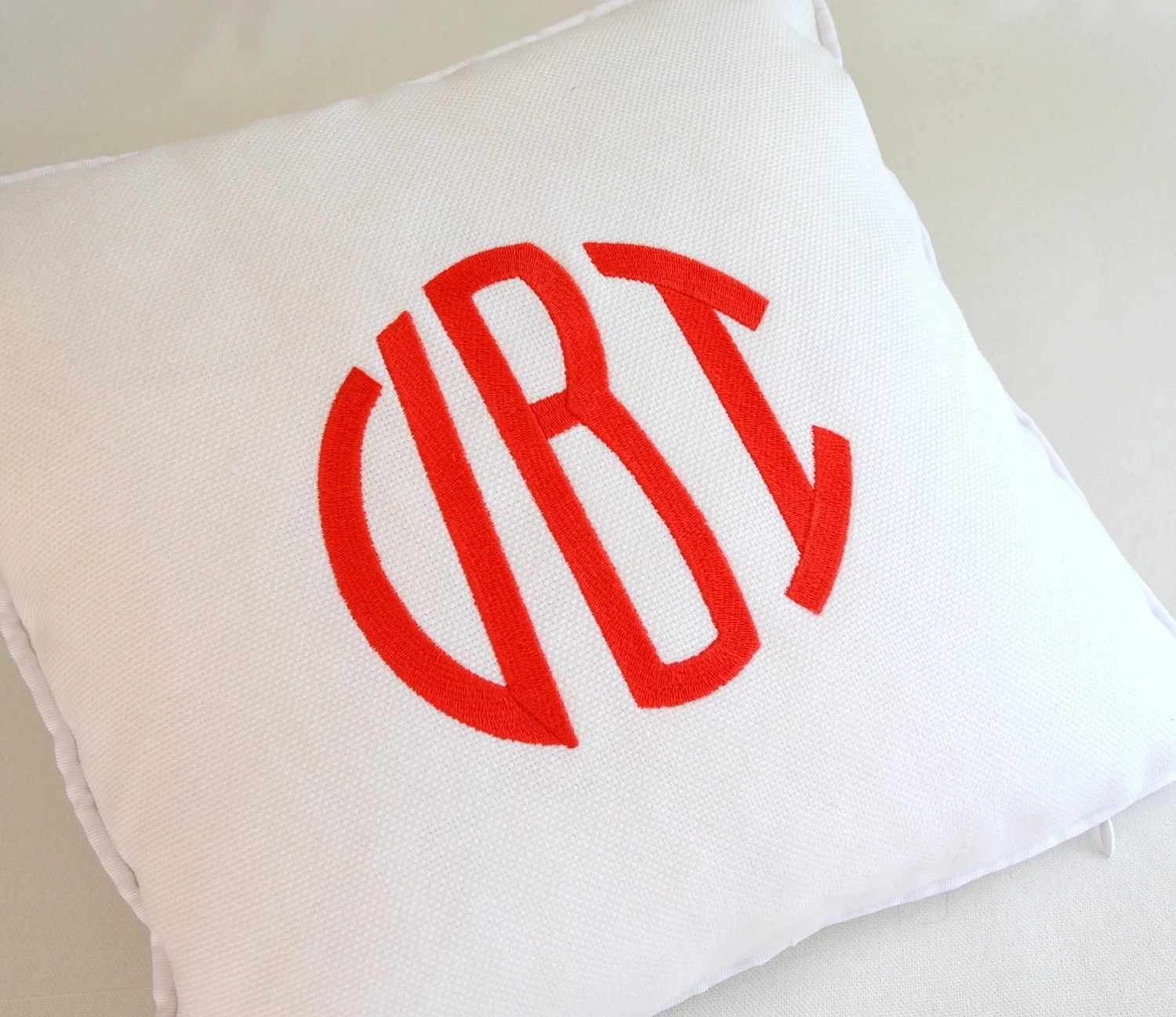 Custom Embroidered Pillow With Your Monogram