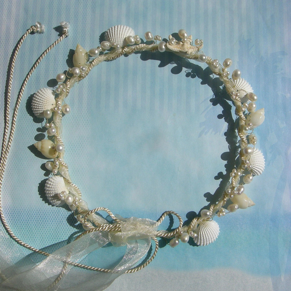 Sea Goddess Seashell And Pearl Wedding Hair Wreath