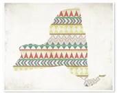 New York Sunrise, 8x10 print, Aztec Tribal Geometric Pattern, Colorful Bold, Fresh Modern Wall Art, Housewarming Gift - JillianAudreyDesigns