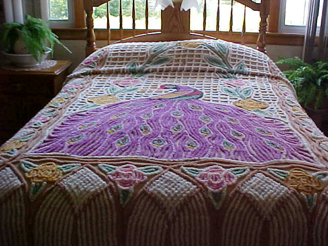 Vintage Purple Peacock Chenille bedspread from 50sdouble