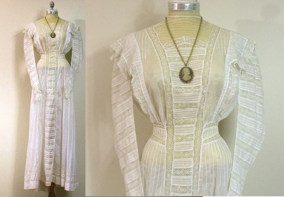 Victorian Antique White Lace Dress / Steampunk / Wedding / Tea