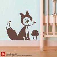 Fox Wall Decal Sticker Woodland Baby Nursery Kids Children
