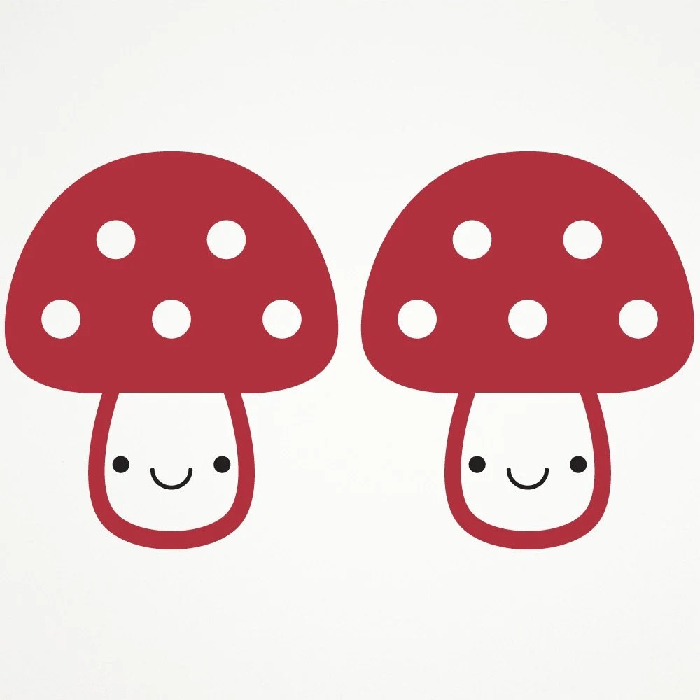 Happy Mushrooms Toadstool Wall Sticker Decals