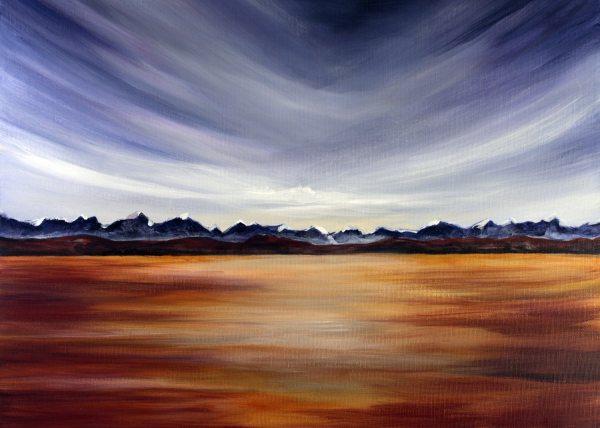 Blue Sky Over Prairie Surreal Landscape Painting