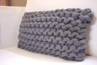 Knit Lumbar Pillow Super Chunky Heather Gray