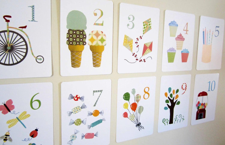 Number Nursery Art Print Kids Wall Art Flash Cards by