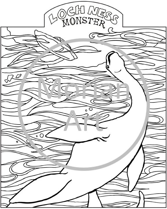 Items similar to Loch Ness Monster Printable Coloring page