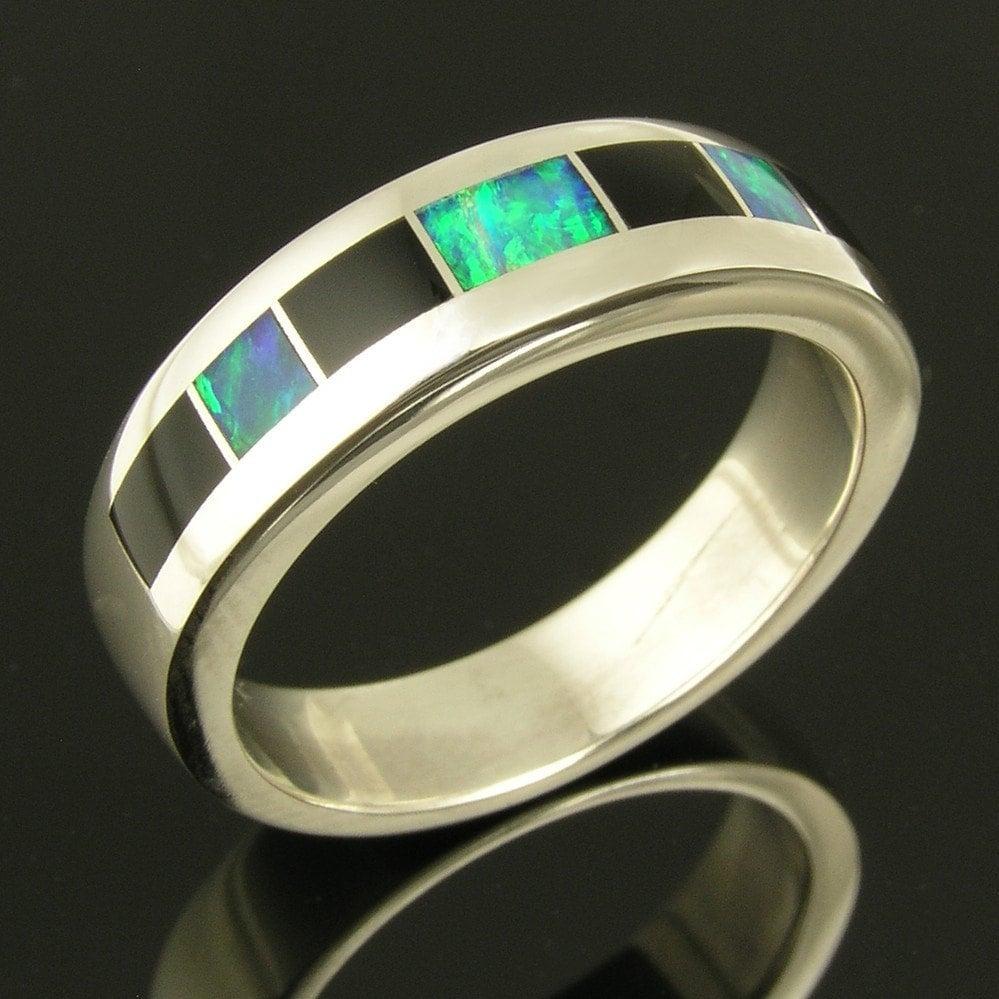 Handmade Australian Opal And Black Onyx Ring By Hileman Silver